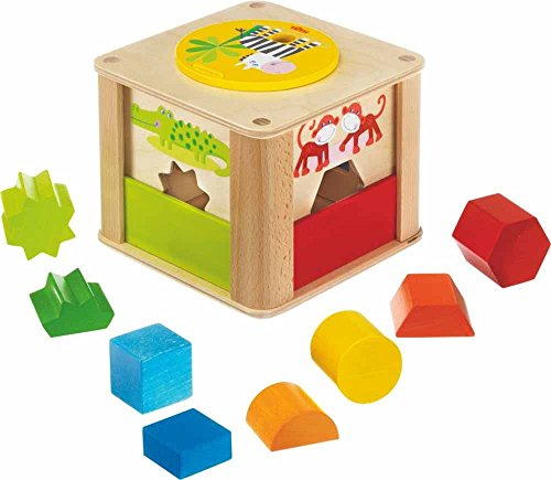 HABA Zookeeper Wooden Shape Sorting Box with a Twist - Explore Whole and Half Shapes - 12 Months -