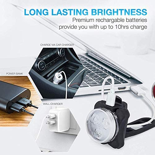 バイクライトセットLED超高輝度フロントヘッドライトとリア、USB充電式650Mahリチウムバッテリー4ライトモードオプション