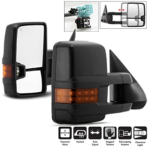 For 03-06 Chevy Silverado Suburban Tahoe GMC Sierra Yukon Pickup Truck Extending Power Heated Tow Mirrors w/Amber Signal ()