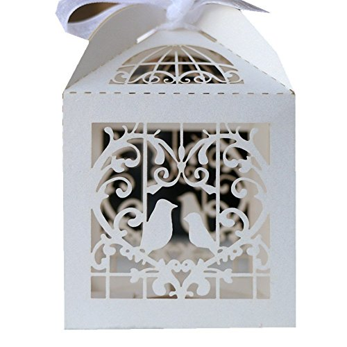 Hosaire 25pcs Candy Gift Boxes Bag with Ribbons Wedding Favors Candy Boxes Hollow Out Love Heart Laser Cut Paper Box Wedding Party Favor