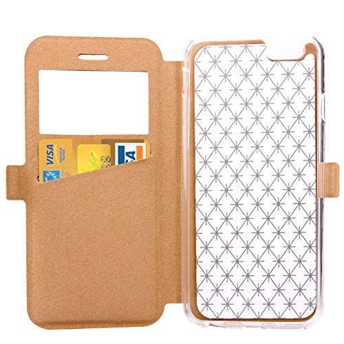 SRY-Bolsa para teléfono móvil Funda de iPhone 6 6S, cuadrado enrejado del patrón del enrejado Caja de ventana del cuero de la PU Funda de TPU suave en funda del soporte con ranura para tarjeta para iP Gold