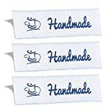 Wunderlabel Handmade Crafting Craft Art Fashion Woven Ribbon Ribbons Tag for Clothing Sewing Sew on Clothes Garment Fabric Material Embroidered Label Labels Tags, Blue on White, 25 Labels