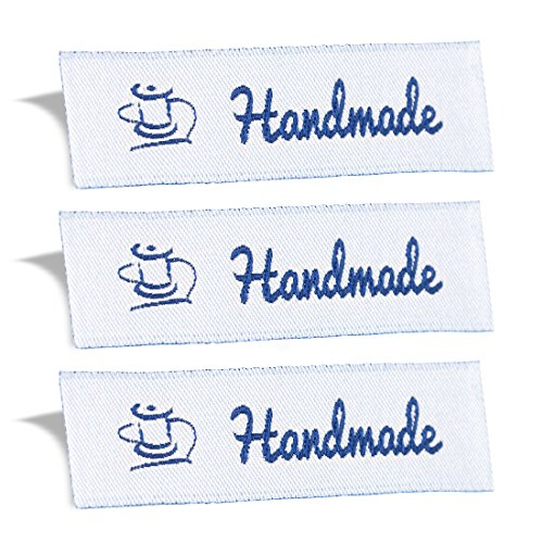 Wunderlabel Handmade Crafting Craft Art Fashion Woven Ribbon Ribbons Tag for Clothing Sewing Sew on Clothes Garment Fabric Material Embroidered Label Labels Tags, Blue on White, 100 Labels
