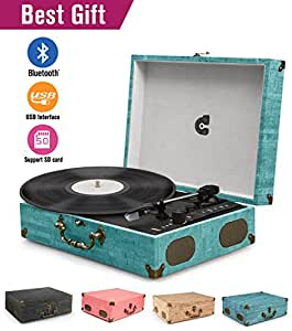 CMC Portable Bluetooth 3 Stereo Speed Turntable with Built in Speakers, Vintage Style Vinyl Record Player, Sky Blue