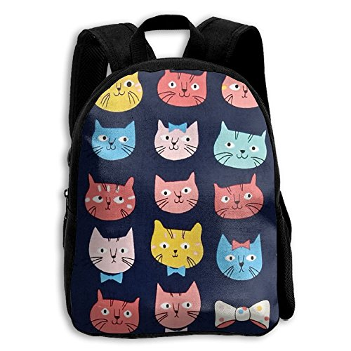 Whiskers Cat Faces Kid Boys Girls Toddler Pre School Backpack Bags Lightweight (Kitty Whisker World)