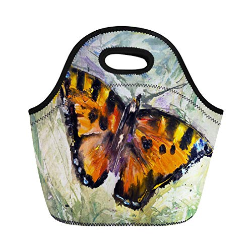 utterfly Grass Oil Canvas Modern Contemporary Watercolor Painting Pictorial Neoprene Lunch Bag Lunchbox Tote Bag Portable Picnic Bag Cooler Bag ()