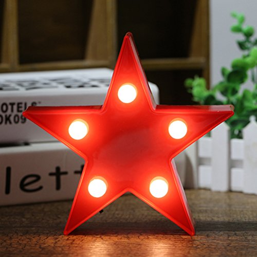 Living Room Game Table - LED Plastic Star Lamp,Cute Kids Room Star Decor Light,3D Star Shaped Sign-Lighted Marquee Star Sign Wall Decor for Birthday Party,Kids Room, Living Room,Romantic Decor Lamp Night Table Light(red)
