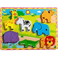 FunBlast Wooden Colorful Learning Educational Board for Kids, Wooden Board Tray, Size- 30 X 22 cm, Available in Different variants (Animal 3)