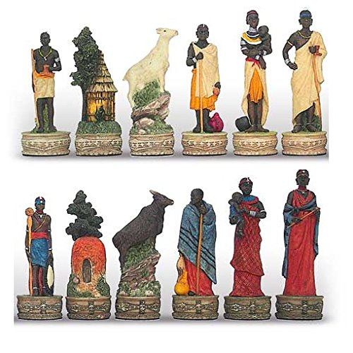 Italfama Massai Hand Painted Polystone Chess Pieces ()