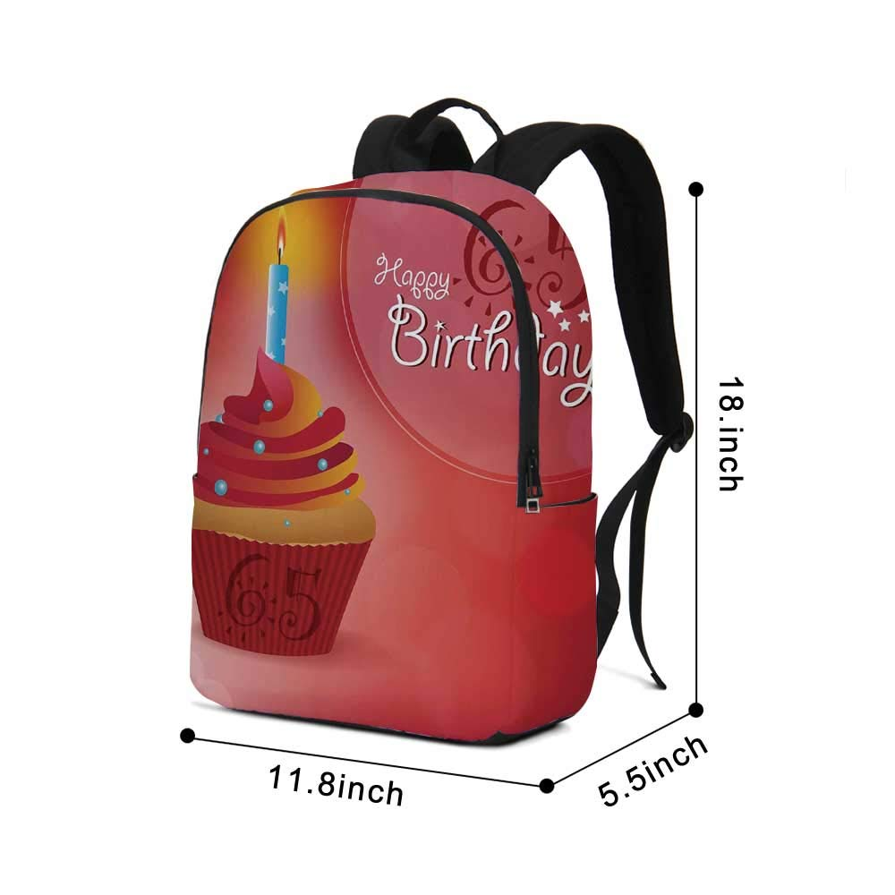 65th Birthday Decorations Modern simple Backpack,Sixty Five Artistic Sun and Stars Figures Cupcake Candle for school,11.8''L x 5.5''W x 18.1''H by TecBillion (Image #2)