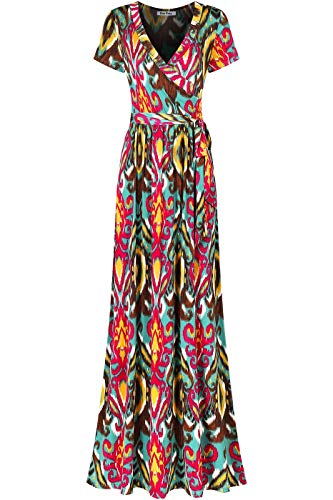 Bon Rosy Women's #MadeInUSA Short Sleeve V-Neck Printed Maxi Faux Wrap Tie Dye Print Dress Summer Wedding Guest Party Bridal Baby Shower Maternity Nursing Magenta Teal S -