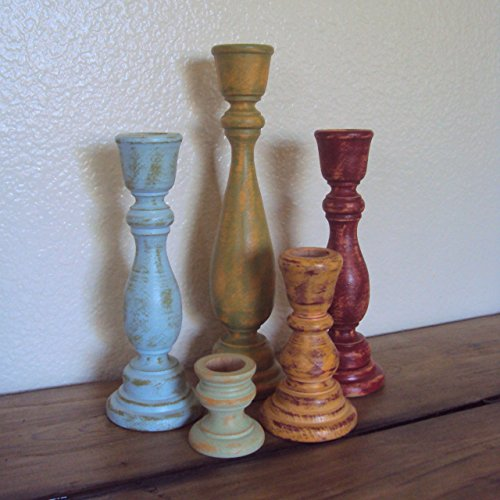 Shabby Distressed Wooden Candlestick Set - Rustic Wood Taper Candle Holders - Farmhouse Chic Decor - Green Blue Red Orange Candle Sticks Set