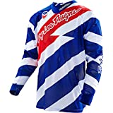 Troy Lee Designs SE Air Caution Men's Off-Road Motorcycle Jersey - White/Navy / 2X-Large