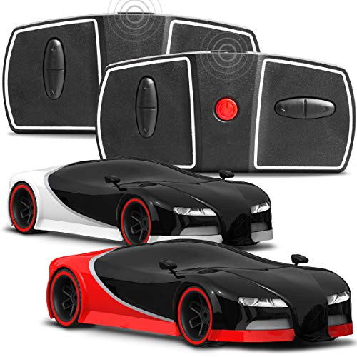 FAO Schwarz 2 Pack RC Remote Control Sports Italia Car Miniature 1:50 Scale, Two Mini Cars and Two Remotes for Two-Player Side-by-Side Racing, Built in LED Lights, Red/Black/Silver, 2.4 GHz (Zip Zaps Micro Rc)