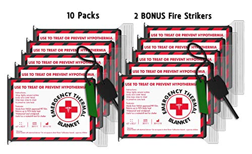10 Pack Multi-Pack Emergency Blankets (Extra Large - 63 x 82.5 inches) with Bonus Fire Striker - Earthquake kit, Bug Out Bag, Camping. AKA Emergency Blanket, NASA Blanket, Mylar Blanket
