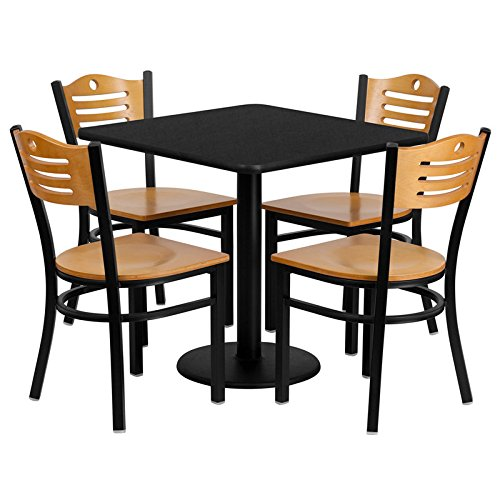 "30"" Sqaure Black Laminate Restaurant Table Set with 4 Wood Slat Back Chairs with Natural Wood Seat"