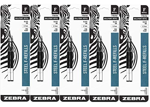 Zebra Black Ink - Zebra F-Series Ballpoint Stainless Steel Pen Refill, Fine Point, 0.7mm, Black Ink, 10-Count