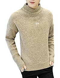 "<span class=""a-offscreen"">[Sponsored]</span>Men's Turtleneck Letter Print Mix Knit Pullover Sweater"