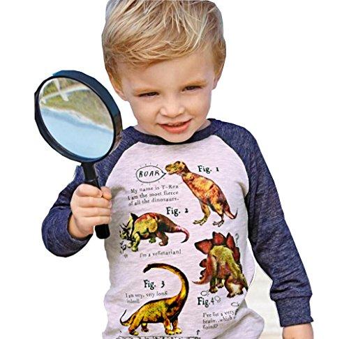 Boys Dinosaur Long Sleeve T-Shirts Kid Cartoon Tee Baby Cotton Top Clothes Size 2-7Y (Beige, 4-5 Years)