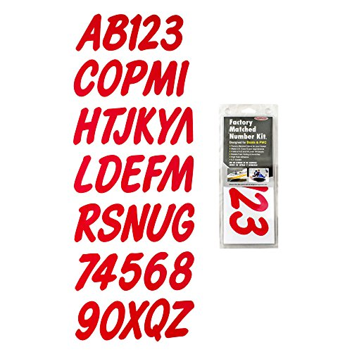 Hardline Products Series 400 Factory Matched 3-Inch Boat & PWC Registration Number Kit, Solid Red