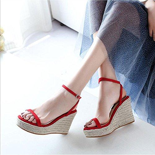 Fibbia Colore Estate 38 Alti Sandali Red Vera Donna Zeppa da Pelle Dimensioni Tacchi 4qqwadz