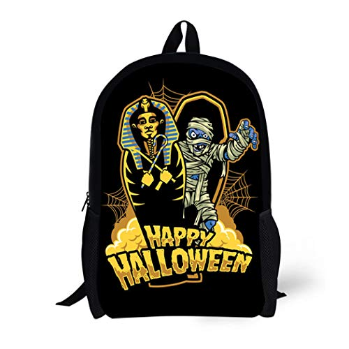 (Pinbeam Backpack Travel Daypack Coffin Halloween Mummy Out From Sarcophagus Dracula Candy Waterproof School)