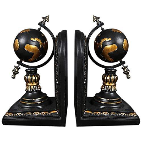 Metal Bookends American Globe Bookend Resin Figurines Retro Globe Book Stand Model Miniature Ornaments Creative Handicrafts Household Decor