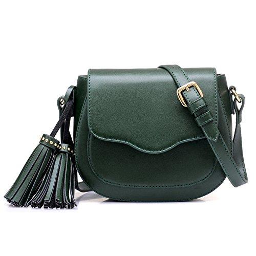 Moda Para Mujeres Mini Bolso De La Borla Del Bolso De La Silla De Montar Retro Shoulder Bag Messenger Bag Del Teléfono Celular De Bolsillo Green