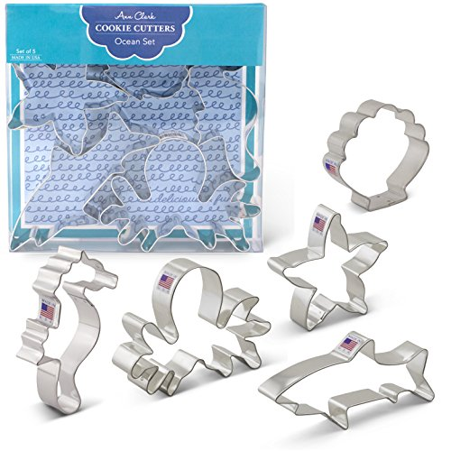Under The Sea Cookie Cutters - 5 Piece Boxed Set - Starfish, Shark, Seahorse, Octopus & Seashell - Ann Clark - US Tin Plated Steel
