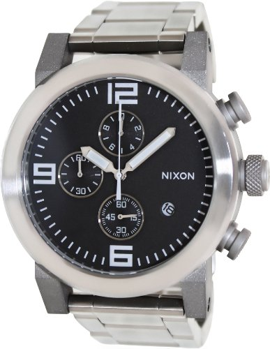 Nixon Men's The Ride Sterling Silver Watch One Size Black (Nixon Mens Dive Watch)