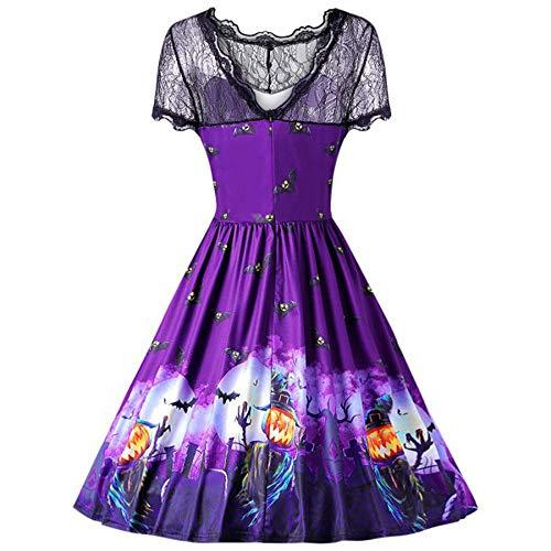 Púrpura Mujeres de Las Halloween Lace Swing Calabaza de Retro Dress Una 2 de Dress Vintage Luckycat Corta línea Manga TBc15Wqw4w