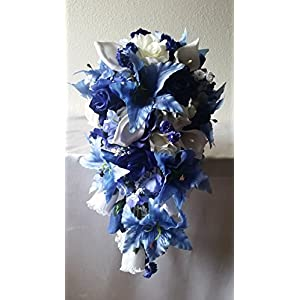 Royal Blue Rose Tiger Lily Cascading Bridal Wedding Bouquet & Boutonniere 88