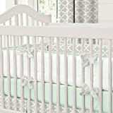 Carousel Designs French Gray and Mint Quatrefoil Crib Bumper