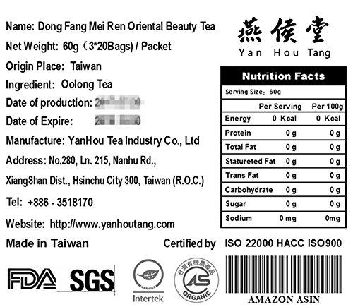 Yan Hou Tang - Bolsitas de té Taiwan de Oolong tea Dong Fang Mei Ren Belleza oriental |Oriental Beauty| - 50 bolsitas de té Queen Victoria Nombrar sabor de ...