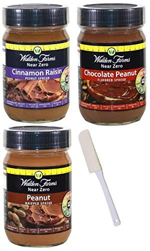 Walden Farms Cinnamon Raisin Peanut Spread, Peanut Spread, Peanut Spread Chocolate w/ Spatula Variety 4 Pack (Variety, ()