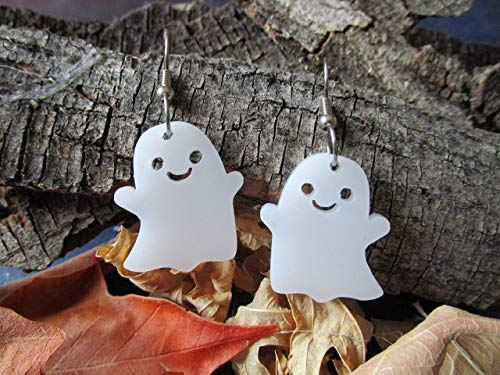 Happy Halloween Kawaii (Happy Ghost Halloween Statement Dangle Earrings, Smiling Kawaii Cute Pastel Goth Ghosts)