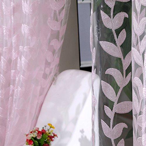 domybest New Floral Tüll Voile Tür ndow Vorhang, weiß rose