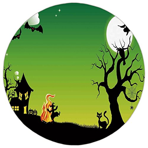 Round Area Rug Mat Rug,Halloween Decorations,Witch Dancing with Fire at Halloween Ancient Western Horror Image,Green Black,Home Decor Mat with Non Slip (Fire Resistant Halloween Decorations)