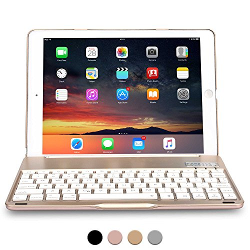 iPad Air 1, iPad 9.7 2017 Keyboard case, COOPER NOTEKEE F8S Backlit LED Bluetooth Wireless Rechargeable Keyboard Portable Laptop Macbook Clamshell Clamcase Cover with 7 Backlight Colors (Gold)