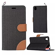 OnePlus X Case,Gift_Source [Card Slot] [Slim Fit] [Kickstand Feature] Double Color Stitching Jeans Grain PU Leather Case Folio Flip Case Cover with Strap for OnePlus X [Black]