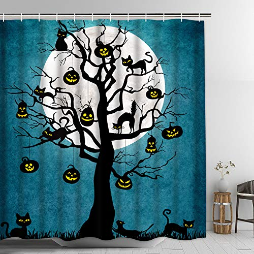Halloween Shower Curtain, Pumpkin Lamp on Tree in Night with Full Moon Shower Curtain with 12 Hooks Black Cat and Dead Trunk Shower Curtain, Bath Curtain Waterproof Odorless Bathroom Curtain]()