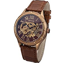 Sewor Rose Gold Skeleton Transparent Mechanical Stainless Steel Leather Sport Watch C793
