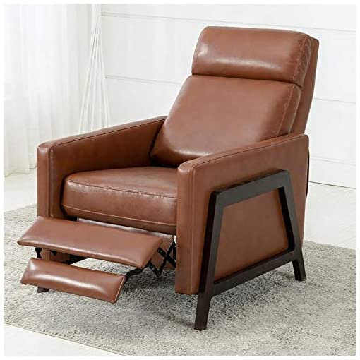 Farmhouse Accent Chairs Comfort Pointe Maxton Caramel Push Back Faux Leather Recliner farmhouse accent chairs