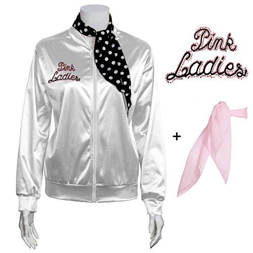 Yan Zhong 1950s Rhinestone Pink Ladies Satin Jacket with Neck Scarf T Bird Women Danny Halloween Costume Fancy Dress -