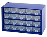 Johnssteel Model 521, 20 Drawer Plastic Parts Type A, Steel Metal Storage Hardware Craft Cabinet Tool Organizer, 12.1-Inch W by 7.5-Inch H by 6.1-Inch D, Blue