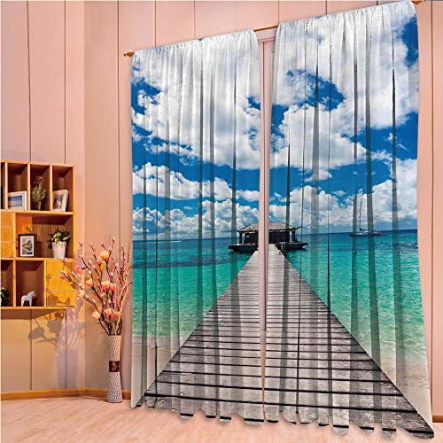 franlinkcossosoph Polyester Window Drapes Kitchen Curtains,Ocean,Caribbean Seascape with
