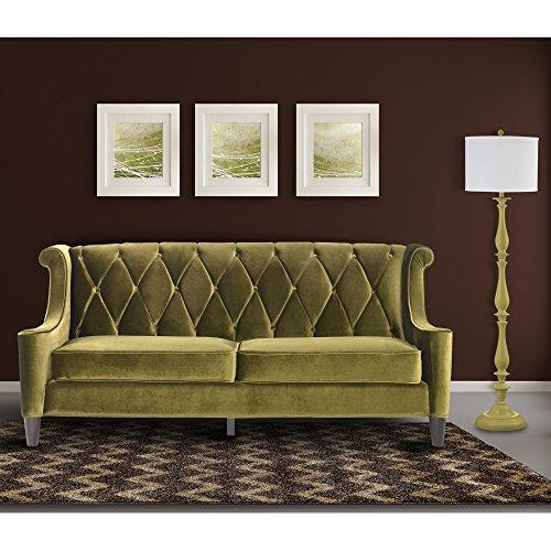 Armen Living LC8443GREEN Barrister Sofa in Green Velvet and Black Wood Finish - Barrister Wood Frame