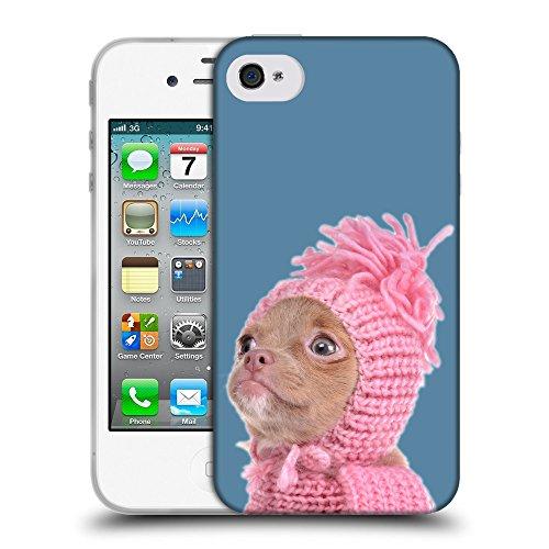 GoGoMobile Coque de Protection TPU Silicone Case pour // Q05690600 Chihuahua chapeau Air Force Blue // Apple iPhone 4 4S 4G