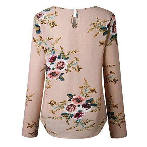 moda shirt Khaki stampato lunghe Camicetta autunno girocollo donna da t casual donna top in maniche a W7SOYRq7U