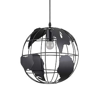Nwlamp Luminaire Lampe Suspendue Industrielle Vintage Planète Terre